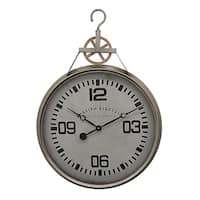 Three Hands Grey Metal Wall Clock