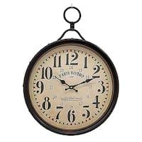 Three Hands Black Metal Wall Clock