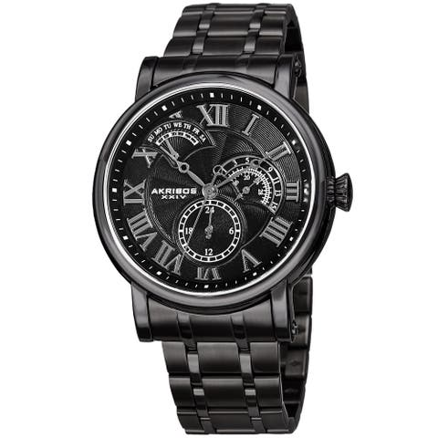Akribos XXIV Men's Quartz Retrograde Date Black Bracelet Watch