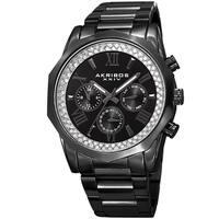 Akribos XXIV Men's Multifunction Date Stainless Steel Black Bracelet Watch
