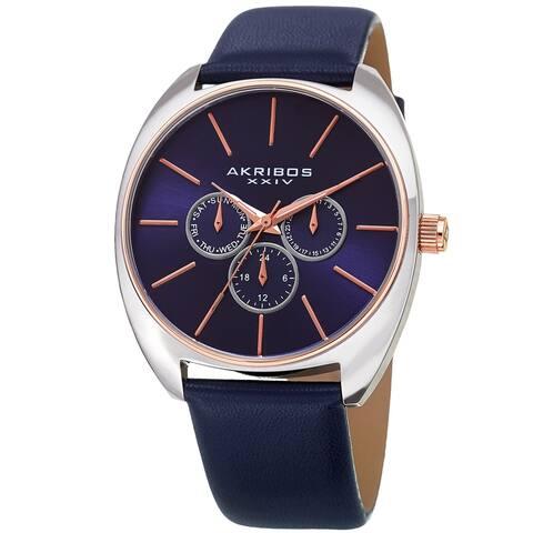 Akribos XXIV Men's Multifunction Classic Quartz Blue Strap Watch
