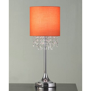 """FLORENCE 22""""H Crystal Pendants Table Lamp, Ember"""