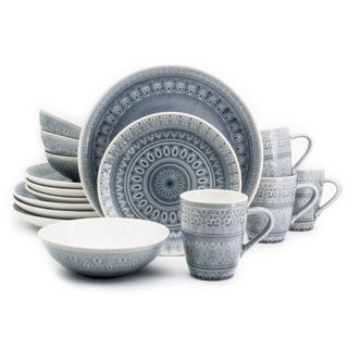 Euro Ceramica Fez 16-piece Crackle-glaze Dinnerware Set (Service for 4) (Option: Grey)