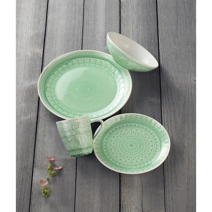 Euro Ceramica Fez 16-piece Crackle-glaze Dinnerware Set (Service for 4)  sc 1 st  Overstock & Green Dinnerware For Less   Overstock