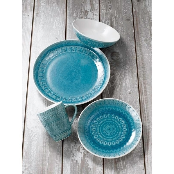 Euro Ceramica Fez 16-piece Crackle-glaze Dinnerware Set (Service for 4)  sc 1 st  Overstock.com & Euro Ceramica Fez 16-piece Crackle-glaze Dinnerware Set (Service for ...