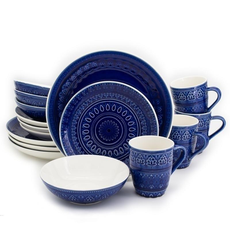 Euro Ceramica Fez 16-piece Crackle-glaze Dinnerware Set (Service for 4)  sc 1 st  Overstock & Blue Microwave Safe Casual Dinnerware For Less | Overstock