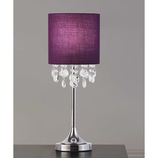 "FLORENCE 22""H Crystal Pendants Table Lamp, Purple"