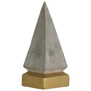 UTC35742: Cement Pyramid Figurine on Coated Gold Square Base LG Concrete Finish Gray