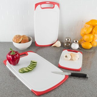 Cutting Board Set- 3 Piece Plastic Kitchen Chopping Boards by Classic Cuisine (Red)