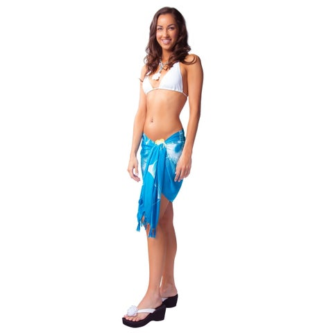 "Floral Half Sarong """"Sea Gypsy"""" Turquoise and White"