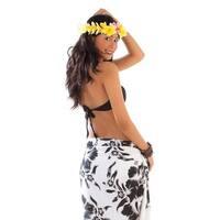 Hanalei Floral Half Sarong in Black/White