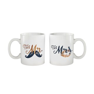 """American Atelier His/Her Set of 2 Mugs 15oz """"His,Hers"""""""