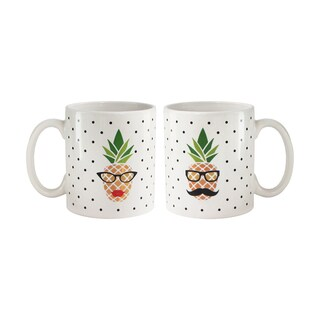 """American Atelier His/Her Pineapple Set of 2 Mugs 15oz """"His,Hers pineapple face"""""""