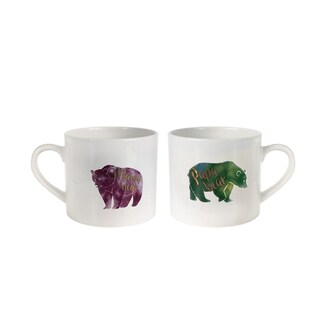 "American Atelier His/Her Set of 2 Mugs 15oz ""purple bear,green bear"""