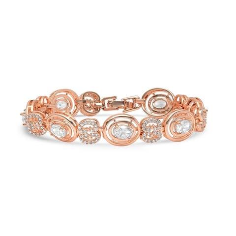 Piatella Ladies Rose Gold Tone Brass Bracelet with White Round Cubic Zirconia and Lab Created Aquamarine Oval Stones