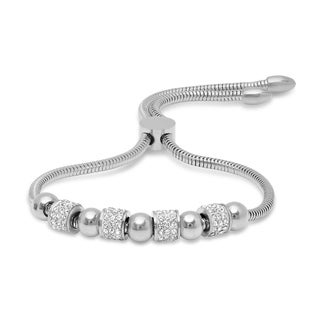 Piatella Ladies Stainless Steel Cubic Zirconia and Beads Omega Drawstring Bracelet in 3 Colors