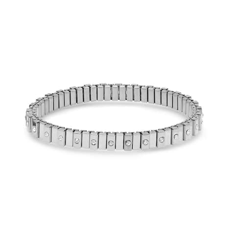 Piatella Ladies Stainless Steel Cubic Zirconia Layered Stretch Bracelet in 3 Colors