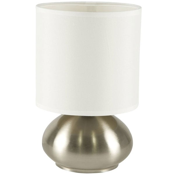 Décor Works Touch Lamp with 3 Stage Dimmable Touch Sensor Brushed Nickel Finish color with Fabric Shade