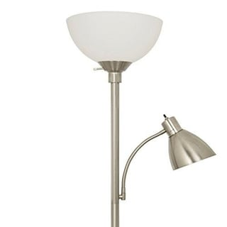 Décor Works Brushed Nickel Floor Lamp with Side Reading Lamp