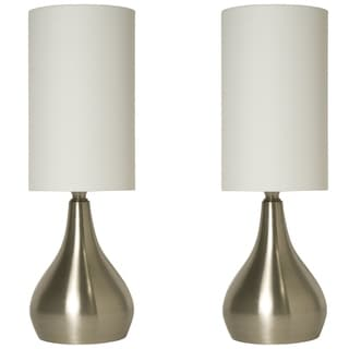 Deals on 2-Pack Touch Lamps Brushed Nickel with Fabric Shades