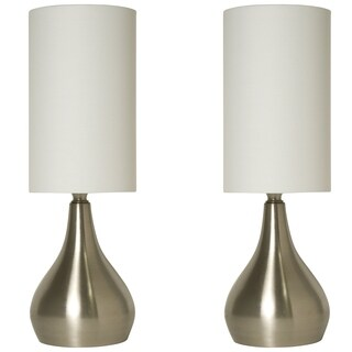 Décor Works 18 Inch Tall Touch Lamps Brushed Nickel with Fabric Shades (2-Pack)