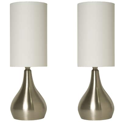 Touch Lamps Brushed Nickel with Fabric Shades (2-Pack)