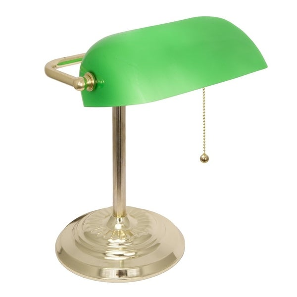 Decor Works Traditional Bankers Lamp with Thick Green Glass Shade and Brass Finish On Off Pull Chain switch