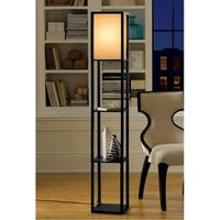 Décor Works Shelf Floor Lamp with Fabric Shade (White)