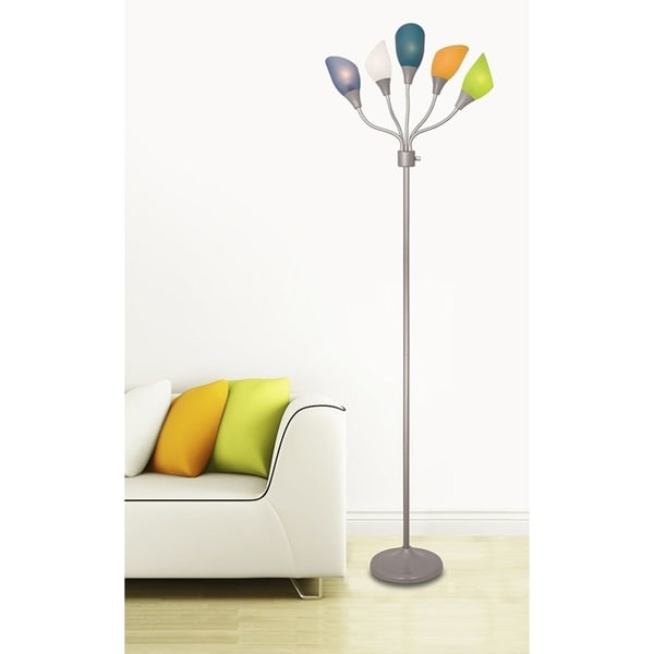 Décor Works 5 Light Floor Lamp with Multicolored Shades