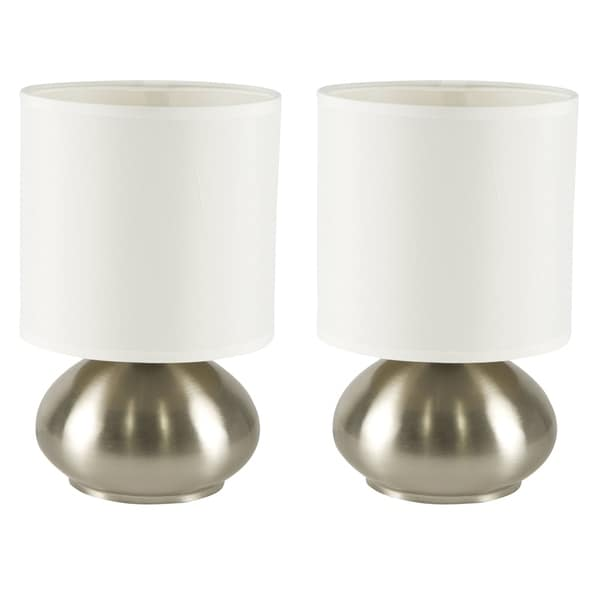 Décor Works Touch Lamp Set of 2 Brushed Nickel Finish with Fabric Shade (2-Pack)