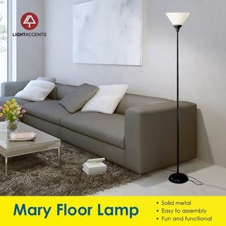 Décor Works 150 Watt Floor Lamp 72 Inches Tall With White Shade (Silver)