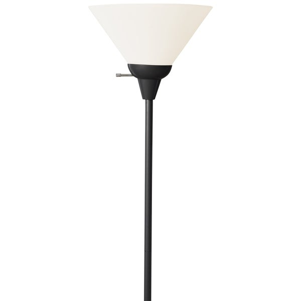 Décor Works 150 Watt Floor Lamp 72 Inches Tall With White Shade Black