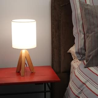 Decor Works Table Lamp Solid Wooden Tripod Base with a Fabric Drum Shade