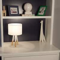 Décor Works Table Lamp Wood and Metal Tripod Base with Fabric Drum Shade (White)