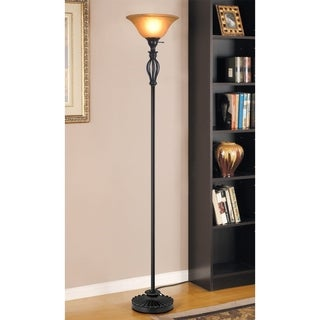 Decor Works Traditional Iron Scrollwork Bronze Floor Lamp with Amber Glass Shade