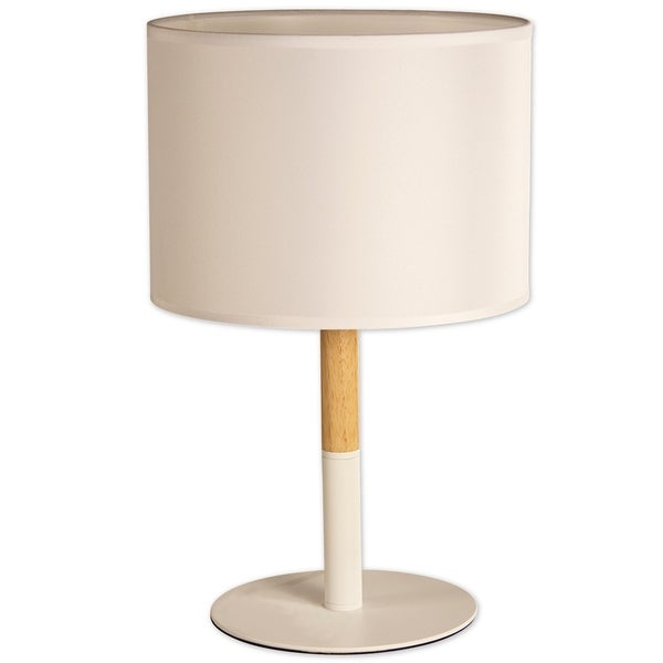 Décor Works Table Lamp Wood and Metal Base with a Fabric Drum Table Lamp Shade