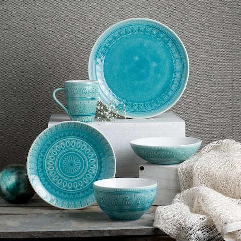 Euro Ceramica Fez 20-piece Crackle-glaze Dinnerware Sets (Service for 4)
