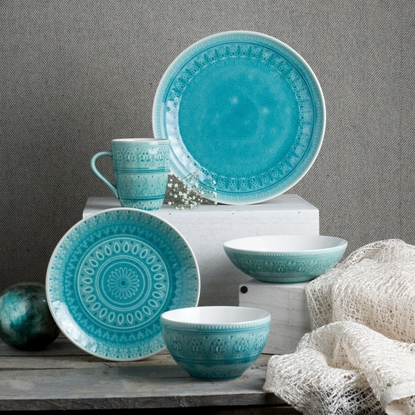 Euro Ceramica Fez 20-piece Crackle-glaze Dinnerware Sets (Service for 4). Opens flyout.