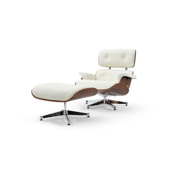 Pasargad Home Florence Leather Lounge Chair -White