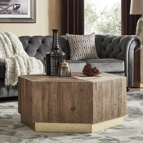Bailey Contemporary Wood and Brass Accent Tables by iNSPIRE Q Bold