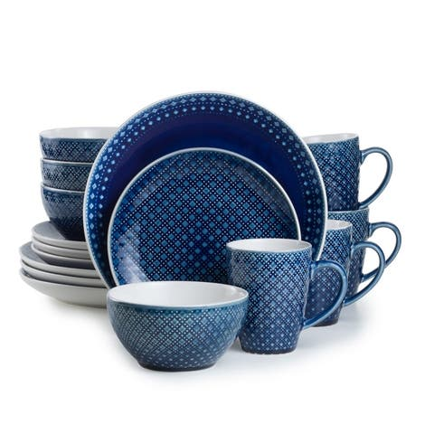Euro Ceramica Palma 16-piece Crackle-Gaze Dinnerware Set (Service for 4)