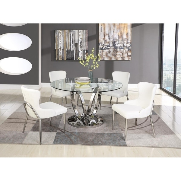 Somette Ema Round Glass Top Dining Table. Opens flyout.