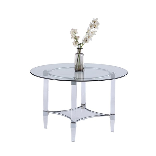 875b831eae20 Shop Somette Emily 48 inch Round Glass Top Dining Table - Free ...