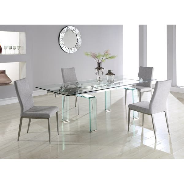 Shop Somette Madeline Rectangular Dining Table With Folding Glass Extension Overstock 19495068