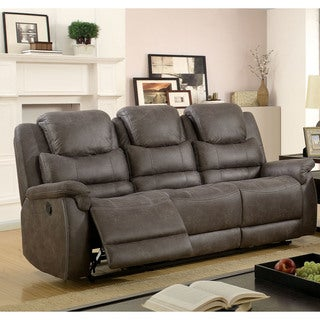 Furniture of America Twaine Transitional Grey Reclining Sofa