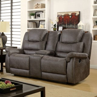 Furniture of America Twaine Grey Transitional Reclining Console Loveseat