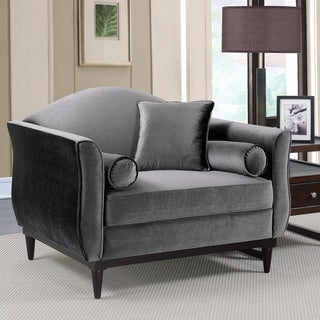 Lisbel Contemporary Dark Grey Accent Chair by FOA
