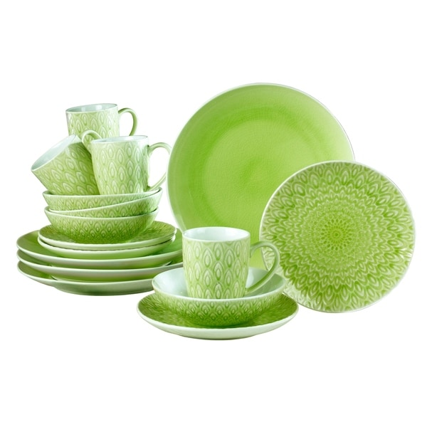 Euro Ceramica Peacock 16-piece Crackle-glaze Dinnerware Set (Service for 4)  sc 1 st  Overstock.com & Euro Ceramica Peacock 16-piece Crackle-glaze Dinnerware Set (Service ...