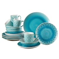 Euro Ceramica Peacock 16-piece Crackle-glaze Dinnerware Set (Service for 4)