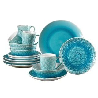 Euro Ceramica Peacock 16-piece Crackle-glaze Dinnerware Set (Service for 4)